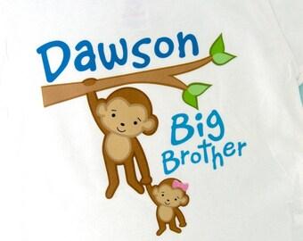 Big Brother Shirt or Onesie, Monkey Shirt, Big Brother Monkey, Personalized Big Brother Little Sister Monkey Baby Tee Shirt (01292014g)