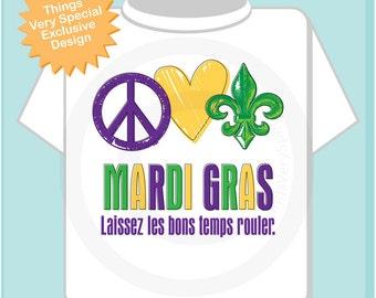 Mardi Gras Shirt - Peace Love Mardi Gras tShirt - Mardi Gras Shirt or Onesie, Laissez les bons temps rouler Shirt 02072012b