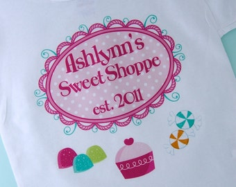 Girl's Sweet Shoppe Birthday Tee or Onesie, perfect for that sweet shop candy themed birthday party. (03152012a)