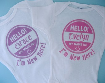 Twin's Hello My Name Is... I'm new Here set of two for twin girls. (03132012a)