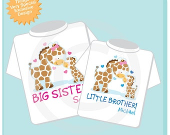 Set of Two Personalized Big Sister and Little Brother Giraffes Shirt and Onesie (02182014c)