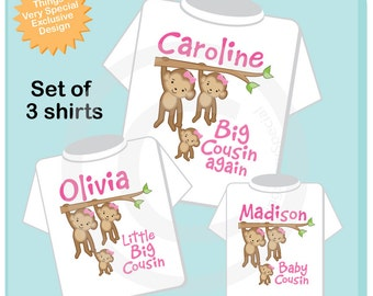Sibling Monkey Shirt Set, Set of Three, Biggest Cousin Shirt, Bigger Cousin, Big Cousin, and Baby Cousin,  Personalized Shirt or Onesie