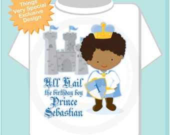 Birthday Shirt, African American Prince Birthday Shirt, Personalized Cute Prince Birthday Boy Tee Shirt or Onesie (05222012a)
