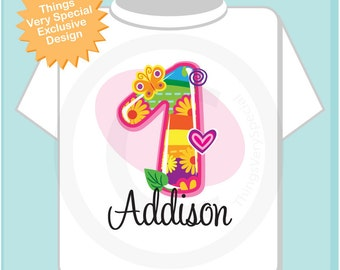 Girl's Personalized First Birthday Onesie or Tee Shirt with Colorful Fancy number 1 and name (05262012b)