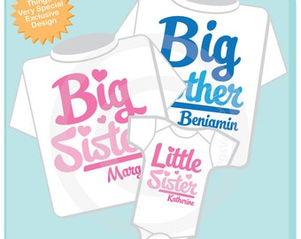 Set of Three, Big Brother, Big Sister and One Little Sister Tees or Onesies (05282012b)