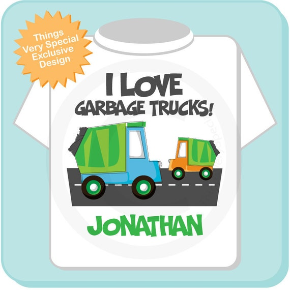Personalized I Love Garbage Trucks Tee Shirt or Onesie (03222012a)