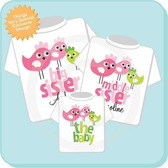 Big Sister and Middle Sister Shirt, and Little Unknown Sex Baby Shirt Set Personalized Birdie Tee Shirt or Onesie Set of Three (09262012b)