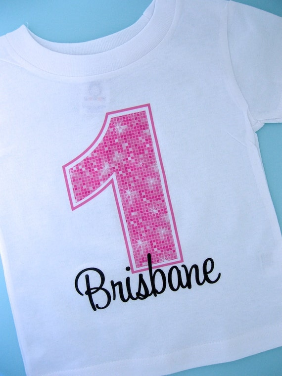 First Birthday Shirt, Pink Birthday Shirt, Personalized Girls Pink Age and Name Tee or Infant Onesie for kids (12122011b)