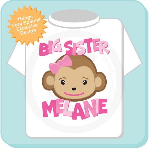 Big Sister Monkey Onesie, Big Sister Monkey Shirt, Personalized Big Sister Monkey Tee Shirt or Onesie (02202012a)