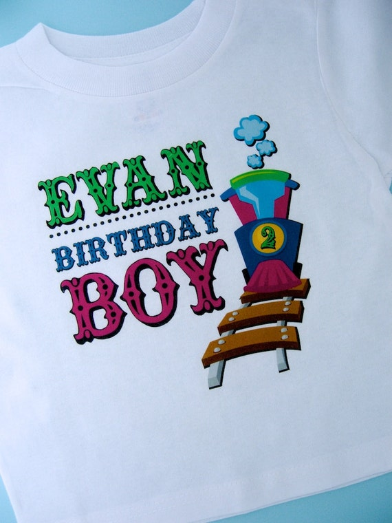 Train Birthday Shirt, Train Shirt, Personalized Train Birthday Conductor Onesie or Tshirt with childs name and age