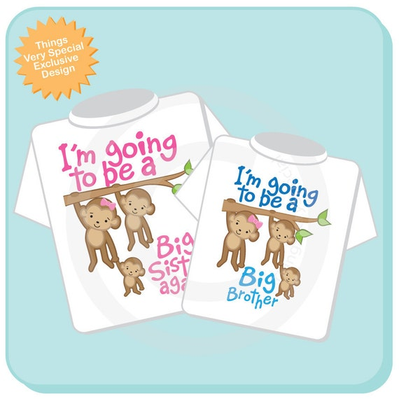I'm Going to Be A Big Sister Again, Big Brother Shirt set of 2, Sibling Shirt, Personalized Tshirt with Cute Monkeys (01022014a)
