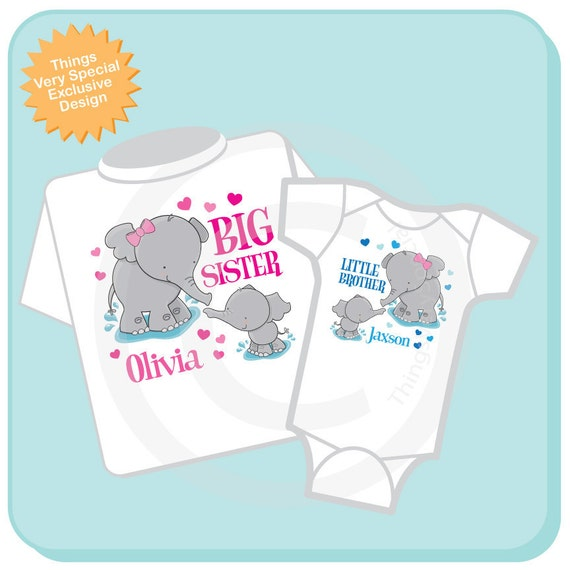 Set of Two Personalized Elephant Big Sister and Little Brother Shirt or Onesie Pregnancy Announcement (05012012b)
