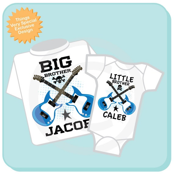 Set of Two Personalized Big Brother and Little Brother Guitar Rocker Shirt or Onesie, Infant, Toddler or Youth sizes t-shirt (03312014f)