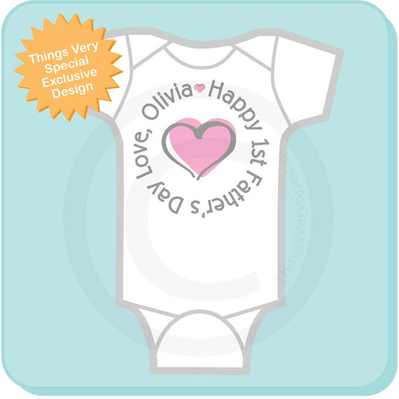 First Father's Day, New Dad Gift, 1st Fathers Day with Pink Heart Personalized DadTee Shirt or Onesie (05102012c)