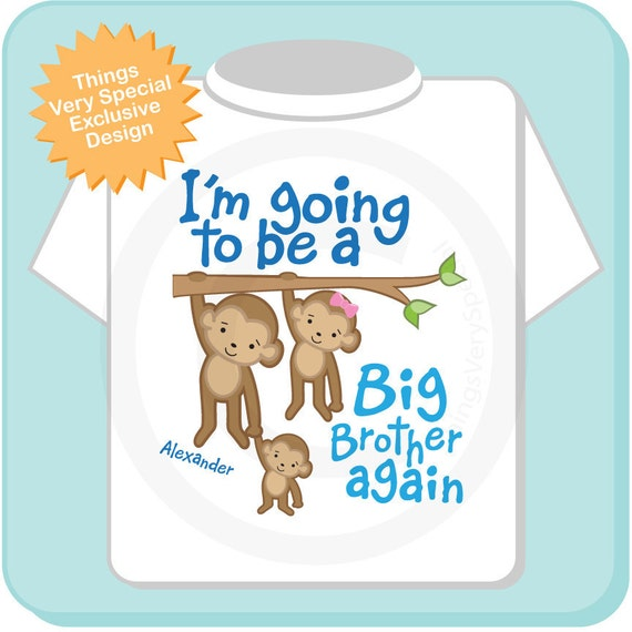 Big Brother Again Shirt or Onesie, Monkey Shirt, Big Brother Monkey, Personalized Big Brother Sibling Monkeys Tee Shirt (12272013d)