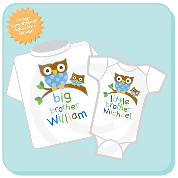 Big Brother Shirt, and Little Brother Owl Onesie or Shirt Set Personalized Owl Tee Shirt or Onesie Set of Two (05212012c)