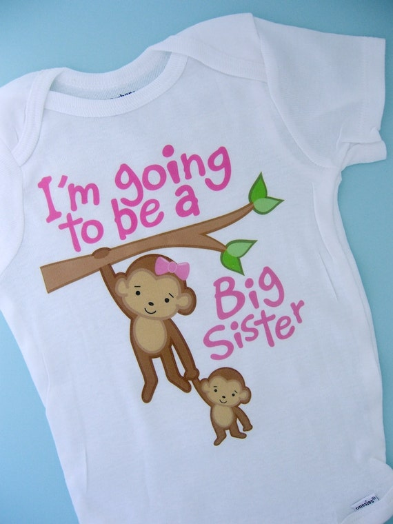 I'm Going to Be A Big Sister Tee Shirt, Big Sister Onesie, Personalized Big Sister Monkey Tee Shirt with Baby Monkey (12132011a)