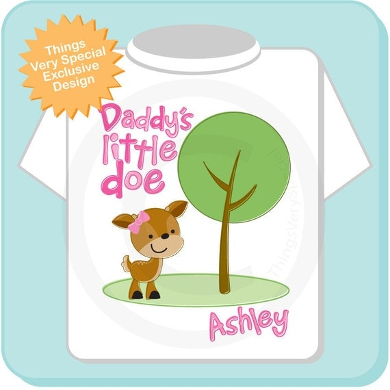 Daddy's Little Doe Shirt, Personalized Woodland Shirt or Onesie with Little Deer Shirt (03112015c)