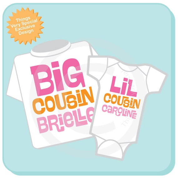 Set of 2, Big Cousin and Little Cousin Shirt Personalized Infant, Toddler or Youth Tee Shirt or Onesie Pregnancy Announcement (06142012d)