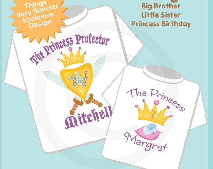 Personalized Princess Protector Big Brother and Little Sister Princess Tee Shirt or Onesie with Your Child's Name (01172011c)