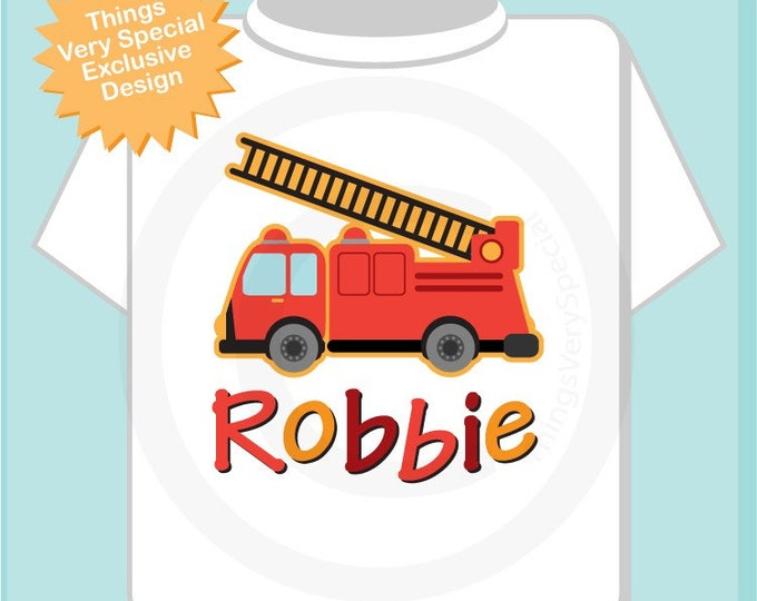 Boy's Personalized Fire Truck Shirt or Onesie Personalized with childs name Fireman Shirt (10282010a)