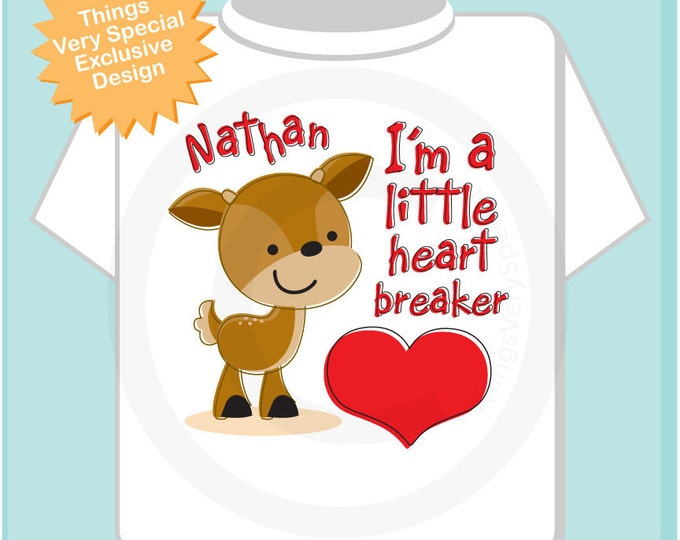 Valentine Shirt, Heart Breaker Shirt, Personalized Little Buck Tee Shirt or Onesie with Any Name