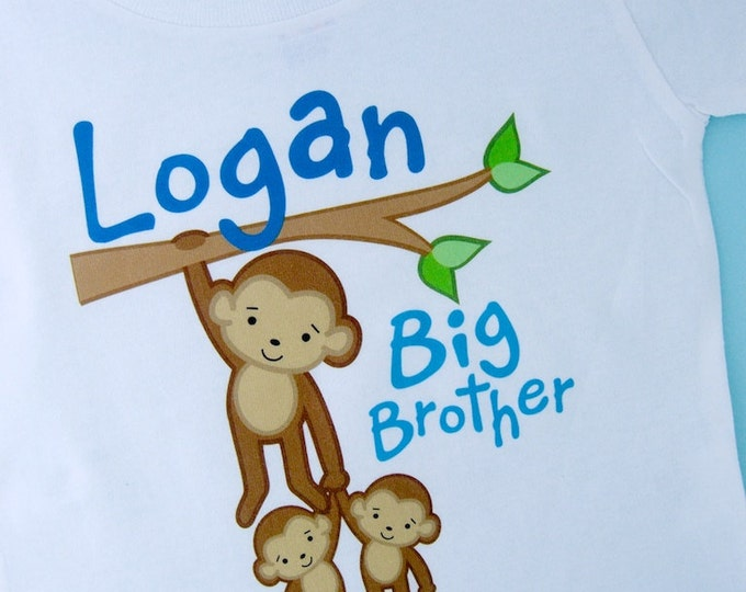 Boy's Big Brother Monkey Shirt or Onesie with twin Baby Monkeys, Personalized Pregnancy Announcement  (03012012a)