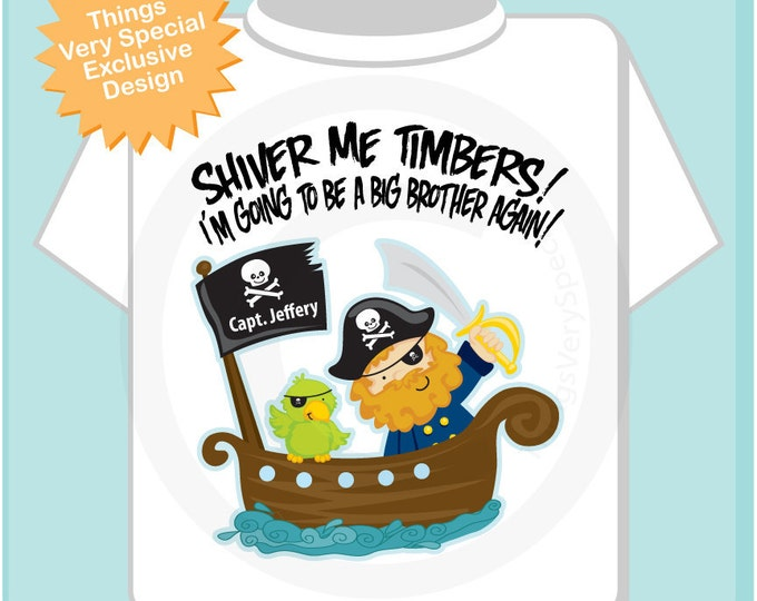 Boy's I'm Going To Be A Big Brother AGAIN Pirate Shirt or Onesie, Personalized (08202012a)
