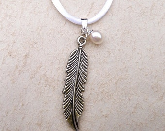 Feather and Pearl Necklace