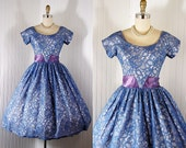 Vintage 1950s 50s Dress VALERIAN DREAM Blue Princess Seamed Chantilly Lace Full Skirt Prom Wedding Party Dress S