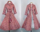1950s Hostess Dress - THIS SPLENDID MORNING Vintage 50s New Look Full Skirt Cotton Quilted Coat Dress