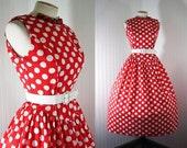 1980s 1950s Dress DOT DOTTY Red Polkadots Princess Seamed Garden Party Cotton  Sundress m l