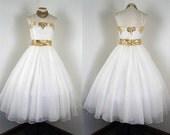 R E S E R V E D Vintage Wedding Dress - Vintage 1960s Dress - White Chiffon Gold Lame Wedding Gown M - The Way Back Home