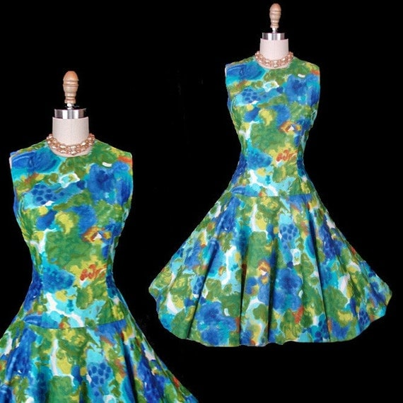 Vintage 60s SITTING POOLSIDE Blue Green Mad Men Sun Party Dress M