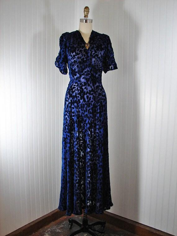 R E S E R V E D Vintage 30s 1930s Dress BLUE DANUBE Old Hollywood Cobalt Floral Velvet and Sheer Gown