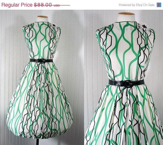 ON SALE Vintage 1950s 1960s Dress SWIZZLE Stick Jadite Green Black Atomic Print Party Day Dress L Xl