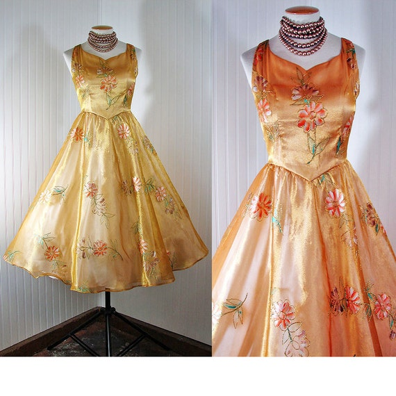 Vintage 50s Costume Dress ADELAIDE Organdy Gold with Painted Flowers Party Wedding Prom Gown S M