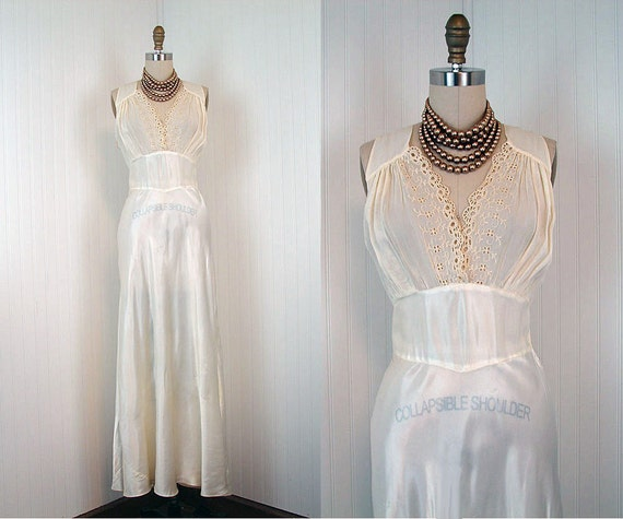 1930s Gown - FALL IN LOVE Vintage 30s Rayon Satin Ivory Bias Cut Wedding Nightgown Slip Dress m l