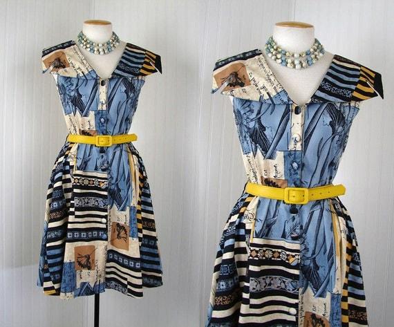 Vintage French Dress - LOVE LETTER Novelty Print Cotton Designer Full Skirt Party Dress
