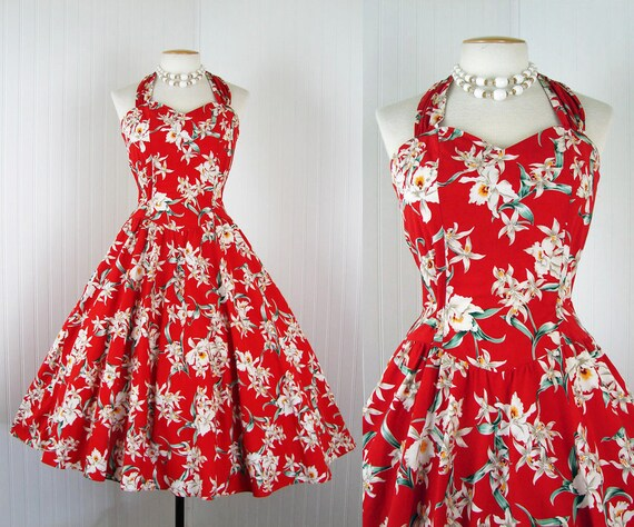 1980s 1950s Hawaiian Dress - LOVELY HULA HANDS Vintage Red Orchid Rockabilly Cotton Full Skirt Halter Sundress m l