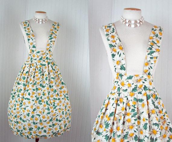 1980s 1950s Jumper Dress - DAISY DOLL Vintage Spring Cotton Floral Full Suspender Skirt s m