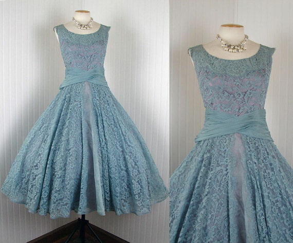 1950s Dress - THE GOOD LIFE Vintage Couture 50s Blue Chantilly Lace Silk Organdy Wedding Party Designer Dress l