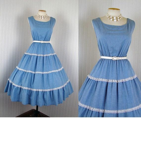 1980s 1950s Dress - AINT NO SHAME Vintage 80s Chambray Blue Cotton Full Skirt Party Sundress xl xxl