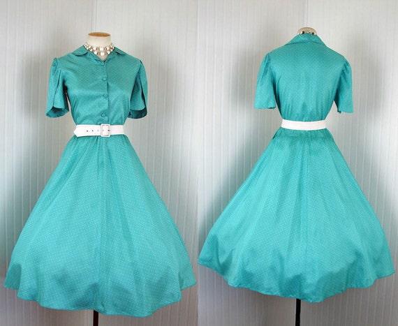 1950s Dress - DARING DO Vintage 50s Silk Aqua White Polkadots Party Day Shirtwaist xl xxl