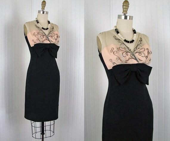 1960s Dress - STRIPTEASE Vintage 60s Black Pink Nude Illusion Designer Beaded Cocktail Party Dress m