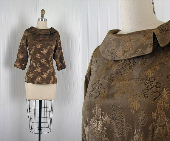 Vintage 50s Top - BAMBOO DRAGON Vintage 1950s Rayon Bronze Novelty Chinese Bombshell Fitted Blouse Shirt xs