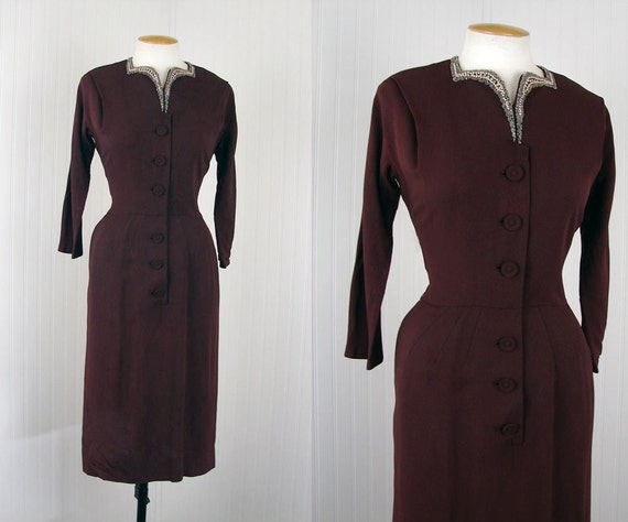 40s Dress - ICED BRUNETTE Vintage 1940s Chocolate Brown Rayon Deco Beaded Dress S