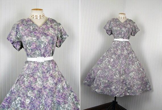 1950s Dress - Vintage 50s Grey Purple Atomic Print Full Skirt Cotton Party Dress XL XXL - Sweet Disorder