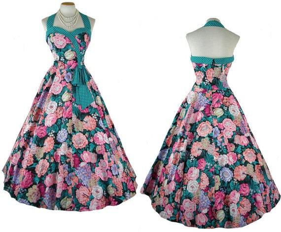 1980s 1950s Dress - HIGH TEA Vintage Spring Cotton Floral and Polkadots Print Full Skirt Halter Circle Skirt Sundress l