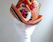 Deep Orange Riding Cap- Handmade Millinery by Natalilouise